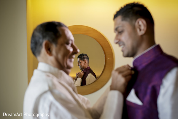 Groom getting ready in Cancun, MX Indian Wedding by DreamArt Photography