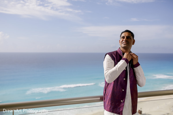 Happy groom after the wedding in Cancun, MX Indian Wedding by DreamArt Photography