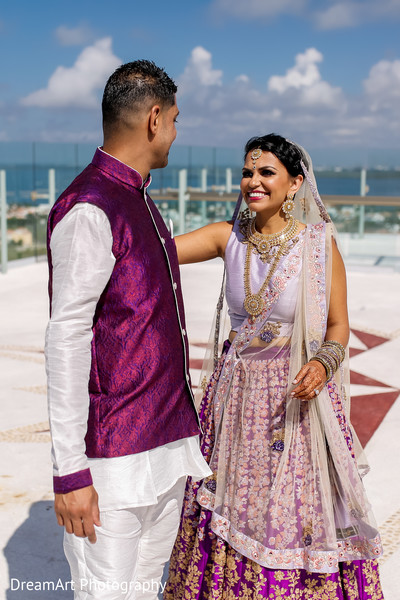 Happy Bridal Indian Couple in Cancun, MX Indian Wedding by DreamArt Photography