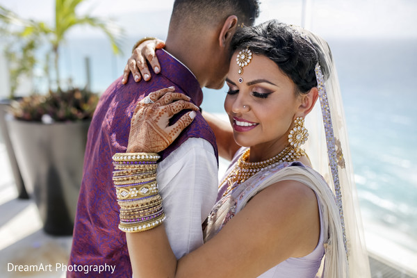 Beautiful Indian Couple in Cancun, MX Indian Wedding by DreamArt Photography