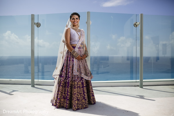 Indian Bride wearing a Beautiful Lengha in Cancun, MX Indian Wedding by DreamArt Photography