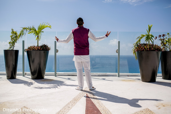 Beautiful Indian Groom Attire in Cancun, MX Indian Wedding by DreamArt Photography