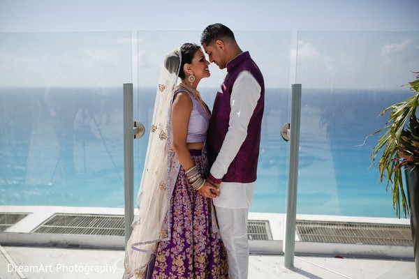 Beautiful Indian Couple at their wedding in Cancun, MX Indian Wedding by DreamArt Photography