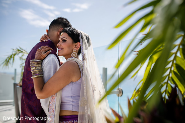 Beautiful Indian Couple on their wedding day in Cancun, MX Indian Wedding by DreamArt Photography