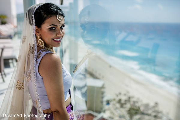 Beautiful bride details in Cancun, MX Indian Wedding by DreamArt Photography