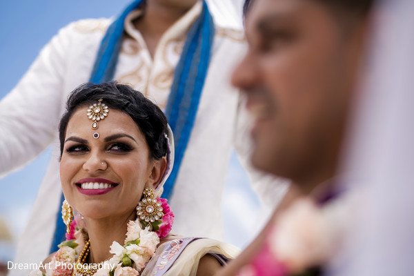 Beautiful Indian Bride Looking at her Groom in Cancun, MX Indian Wedding by DreamArt Photography