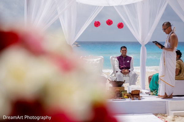 Indian groom getting ready to see his beautiful bride in Cancun, MX Indian Wedding by DreamArt Photography