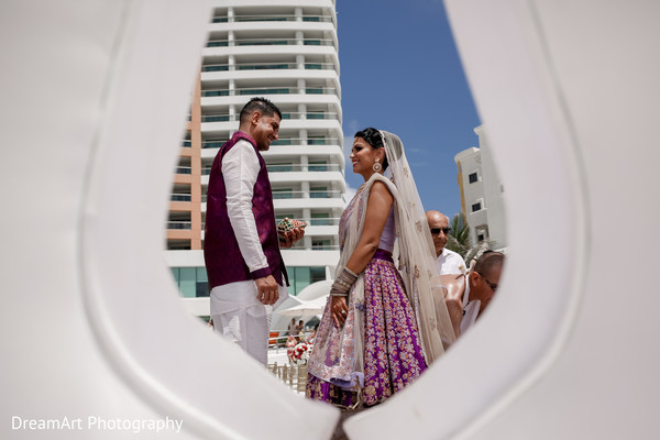 Perfect shot of this Indian wedding couple in Cancun, MX Indian Wedding by DreamArt Photography
