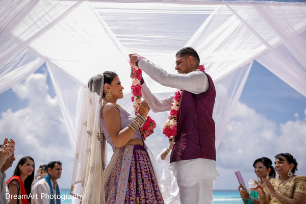See the lovely matching outfits for this Indian wedding couple in Cancun, MX Indian Wedding by DreamArt Photography