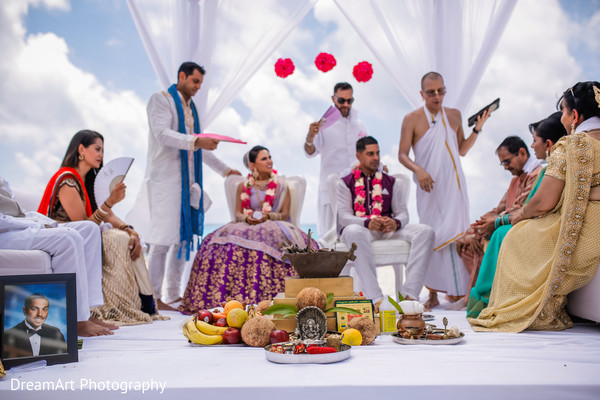 Lovely shot of this Indian wedding ceremony stage in Cancun, MX Indian Wedding by DreamArt Photography