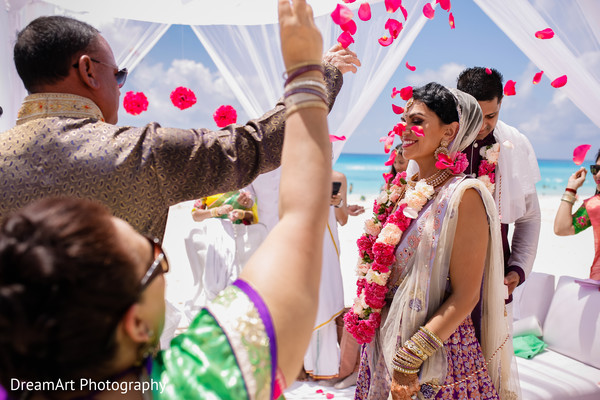 Lovely Indian bride in her wedding ceremony traditions in Cancun, MX Indian Wedding by DreamArt Photography