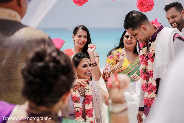 Happy Indian couple in their wedding ceremony in Cancun, MX Indian Wedding by DreamArt Photography
