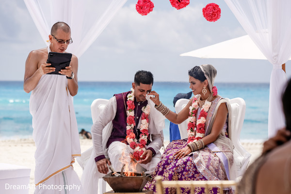 Indian groom in tears of happiness in Cancun, MX Indian Wedding by DreamArt Photography