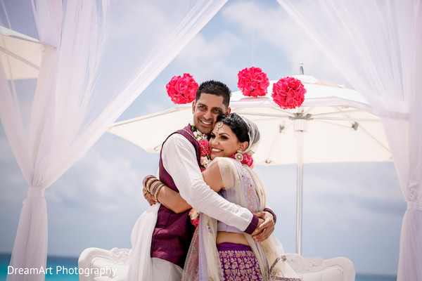 See this lovely Indian wedding couple in their wedding ceremony in Cancun, MX Indian Wedding by DreamArt Photography