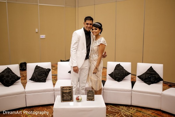 Beautiful Indian couple rocking the gatsy style in Cancun, MX Indian Wedding by DreamArt Photography