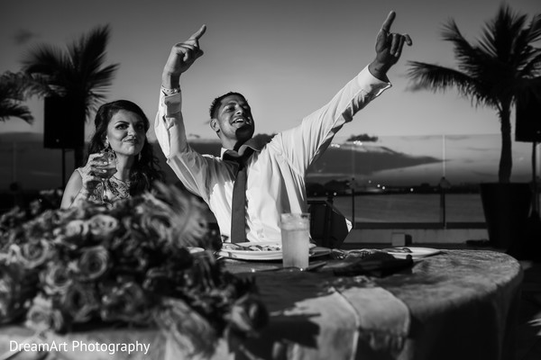 This Indian wedding couple shows their style in a black & white portrait in Cancun, MX Indian Wedding by DreamArt Photography