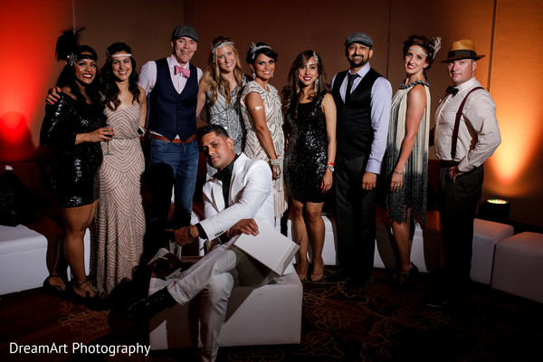 Let's see this gatsy style wedding party in Cancun, MX Indian Wedding by DreamArt Photography