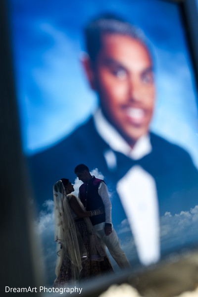Beautiful Indian couple portrait in Cancun, MX Indian Wedding by DreamArt Photography