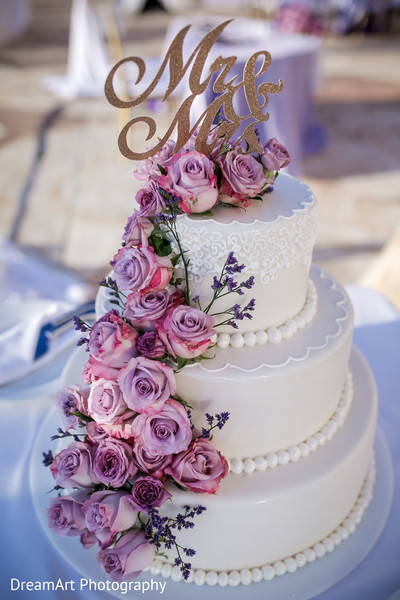 White and pink roses pearled Indian wedding cake in Cancun, MX Indian Wedding by DreamArt Photography