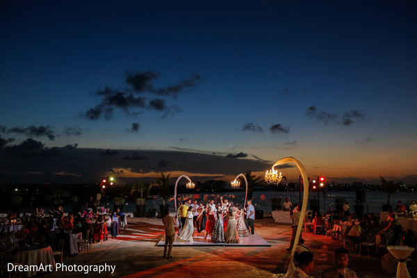 Beautiful set up for the dance floor of this lovely Indian wedding reception in Cancun, MX Indian Wedding by DreamArt Photography