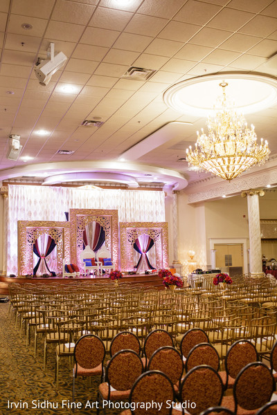 View of the ceremony mandap stage in Brampton, ON Indian Wedding by Irvin Sidhu Fine Art Photography Studio
