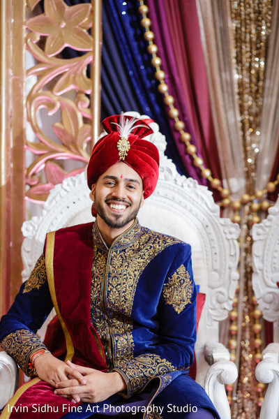Handsome Indian groom in his wedding ceremony in Brampton, ON Indian Wedding by Irvin Sidhu Fine Art Photography Studio