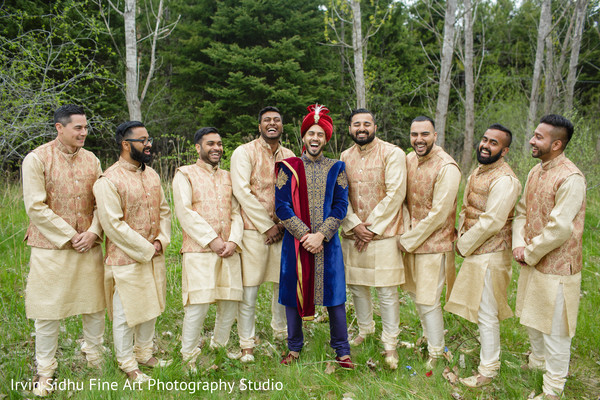 Indian groom with his groomsmen in Brampton, ON Indian Wedding by Irvin Sidhu Fine Art Photography Studio
