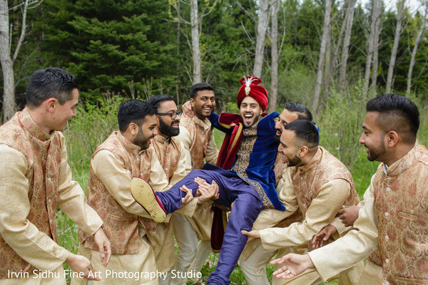 Indian groom having fun with his groomsmen in Brampton, ON Indian Wedding by Irvin Sidhu Fine Art Photography Studio