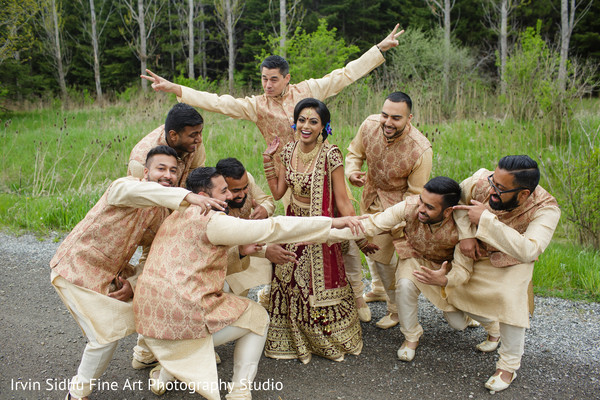 Maharani posing with groomsmen in Brampton, ON Indian Wedding by Irvin Sidhu Fine Art Photography Studio