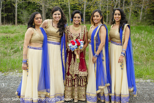 Maharani posing with her bridesmaids in Brampton, ON Indian Wedding by Irvin Sidhu Fine Art Photography Studio