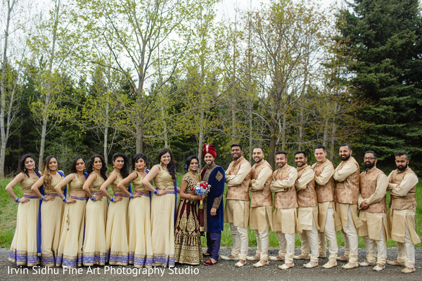 Indian couple with bridesmaids and groomsmen in Brampton, ON Indian Wedding by Irvin Sidhu Fine Art Photography Studio