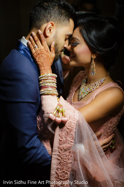 Check out the beautiful details in her pink sari in Brampton, ON Indian Wedding by Irvin Sidhu Fine Art Photography Studio