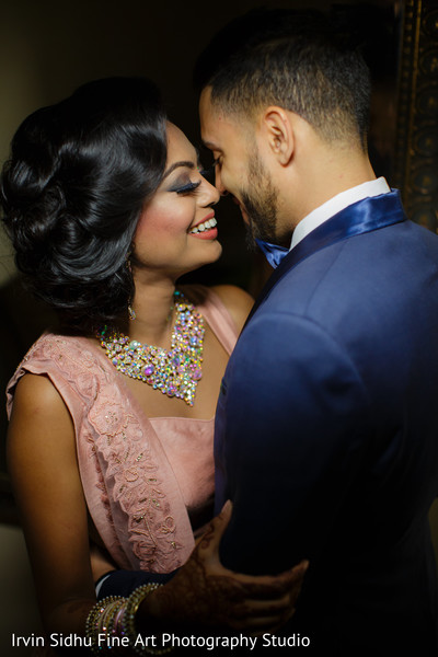 Lovely indian couple in their reception outfits in Brampton, ON Indian Wedding by Irvin Sidhu Fine Art Photography Studio