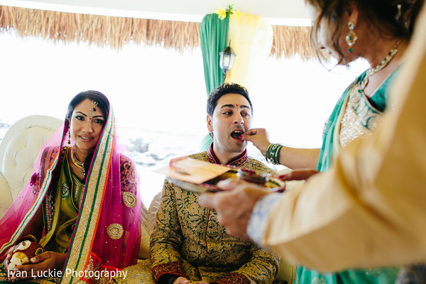 Indian couple during the Sagaai Ceremony in Playa del Carmen Playa del Carmen Destination Indian Wedding by Ivan Luckie Photography