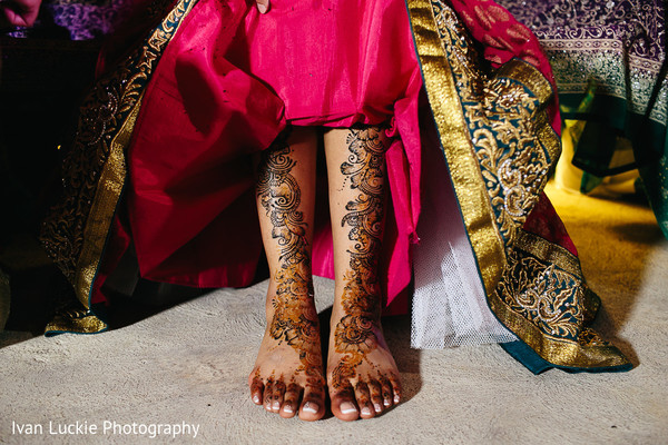 Beautiful intricate bridal mehndi design. in Playa del Carmen Playa del Carmen Destination Indian Wedding by Ivan Luckie Photography