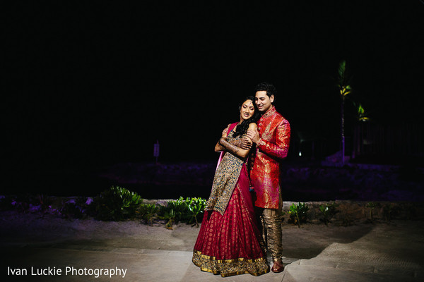 Indian bride and groom night outdoor picture. in Playa del Carmen Playa del Carmen Destination Indian Wedding by Ivan Luckie Photography