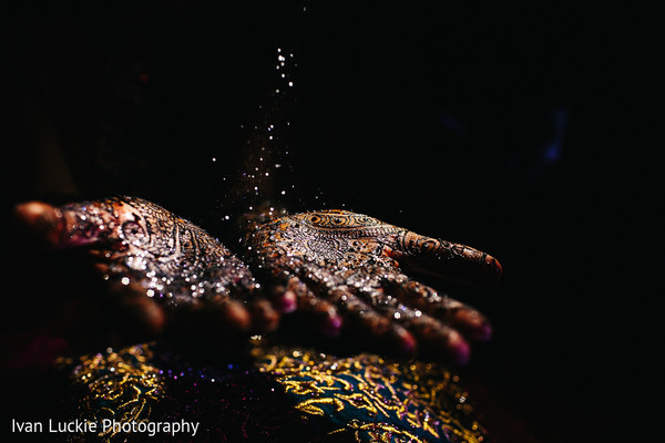 Magical shot of bridal mehndi design. in Playa del Carmen Playa del Carmen Destination Indian Wedding by Ivan Luckie Photography