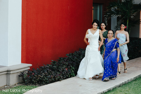 Indian bride in white dress. in Playa del Carmen Playa del Carmen Destination Indian Wedding by Ivan Luckie Photography