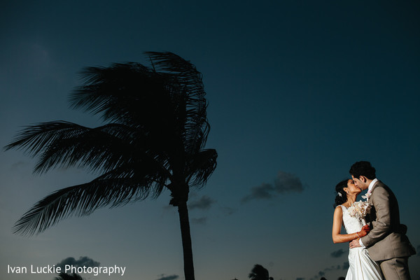 Summer breeze captured along with this beautiful indian bride and groom in Playa del Carmen Playa del Carmen Destination Indian Wedding by Ivan Luckie Photography