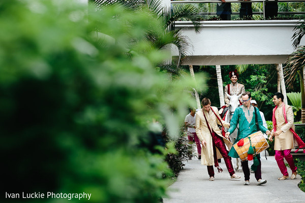 Indian groom baraat entrance in Playa del Carmen Playa del Carmen Destination Indian Wedding by Ivan Luckie Photography