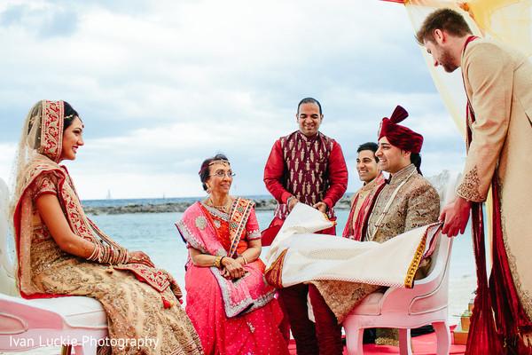 Beach indian wedding ceremony. in Playa del Carmen Playa del Carmen Destination Indian Wedding by Ivan Luckie Photography