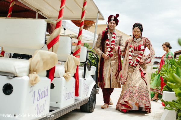 Bride and groom moments after their wedding ceremony. in Playa del Carmen Playa del Carmen Destination Indian Wedding by Ivan Luckie Photography