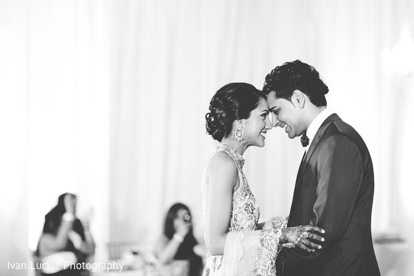 Romantic black and white capture of indian bride and groom. in Playa del Carmen Playa del Carmen Destination Indian Wedding by Ivan Luckie Photography