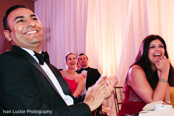 Guests at  indian wedding reception. in Playa del Carmen Playa del Carmen Destination Indian Wedding by Ivan Luckie Photography