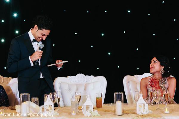 Indian groom's wedding reception speech in Playa del Carmen Playa del Carmen Destination Indian Wedding by Ivan Luckie Photography