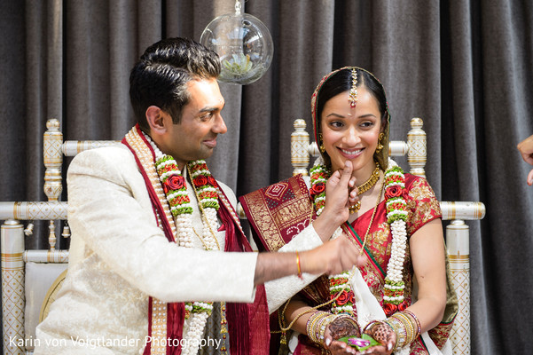 Bride and Groom Portrait in New York, NY Indian Wedding by Karin von Voigtlander Photography