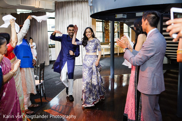 Bride and Groom Entrance in New York, NY Indian Wedding by Karin von Voigtlander Photography