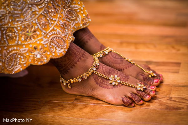 Mehndi on feet in Richmond Hill, NY Indian Wedding by MaxPhoto NY