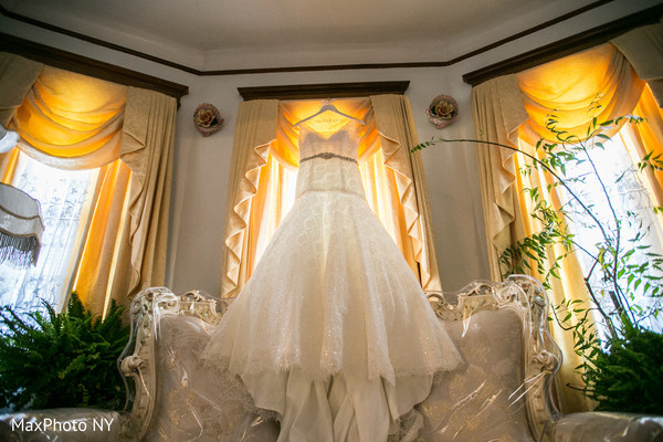 White wedding gown in Richmond Hill, NY Indian Wedding by MaxPhoto NY
