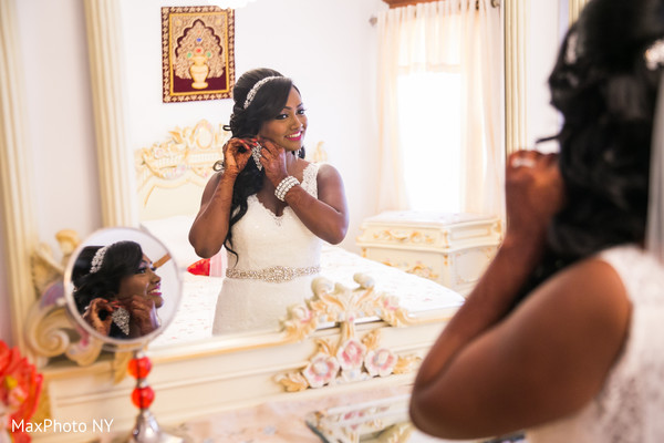 Indian bride getting ready in Richmond Hill, NY Indian Wedding by MaxPhoto NY